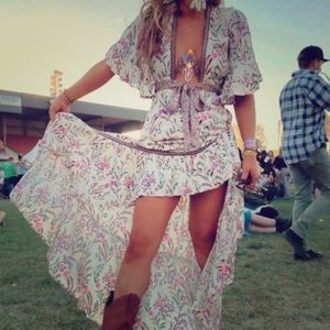 Boho Floral Print Deep V Tie High/Low Dress